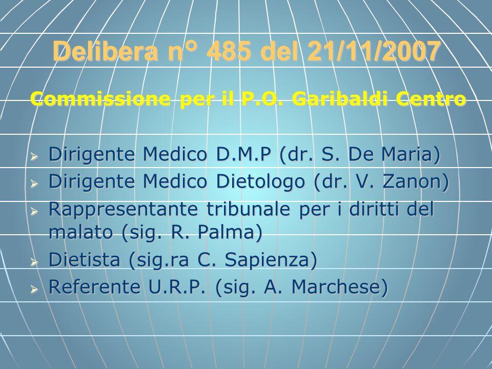 Delibera n° 485 del 21/11/2007 Commissione per il P.O. Garibaldi Centro. Dirigente Medico D.M.P (dr. S. De Maria)