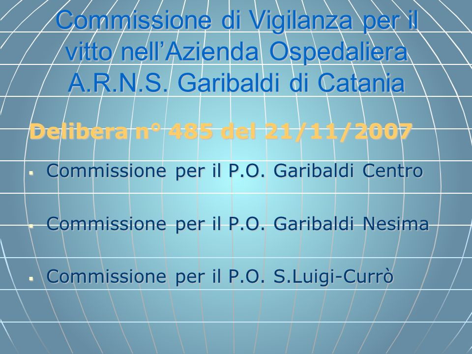 Commissione di Vigilanza per il vitto nell'Azienda Ospedaliera A. R. N