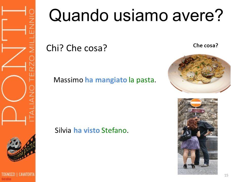 Quando usiamo avere Chi Che cosa Massimo ha mangiato la pasta.