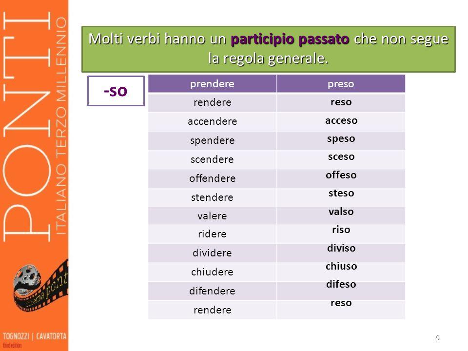Molti verbi hanno un participio passato che non segue la regola generale.