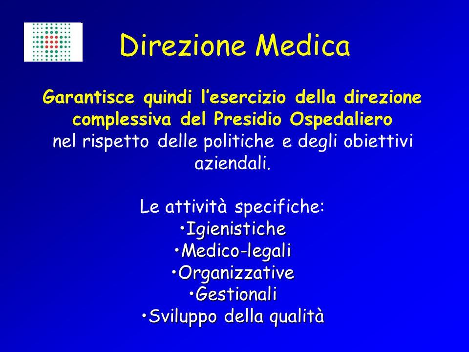 Direzione Medica Garantisce quindi l'esercizio della direzione complessiva del Presidio Ospedaliero.