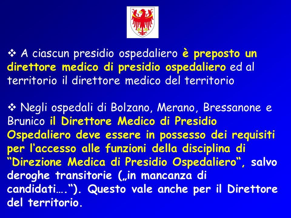 A ciascun presidio ospedaliero è preposto un direttore medico di presidio ospedaliero ed al territorio il direttore medico del territorio