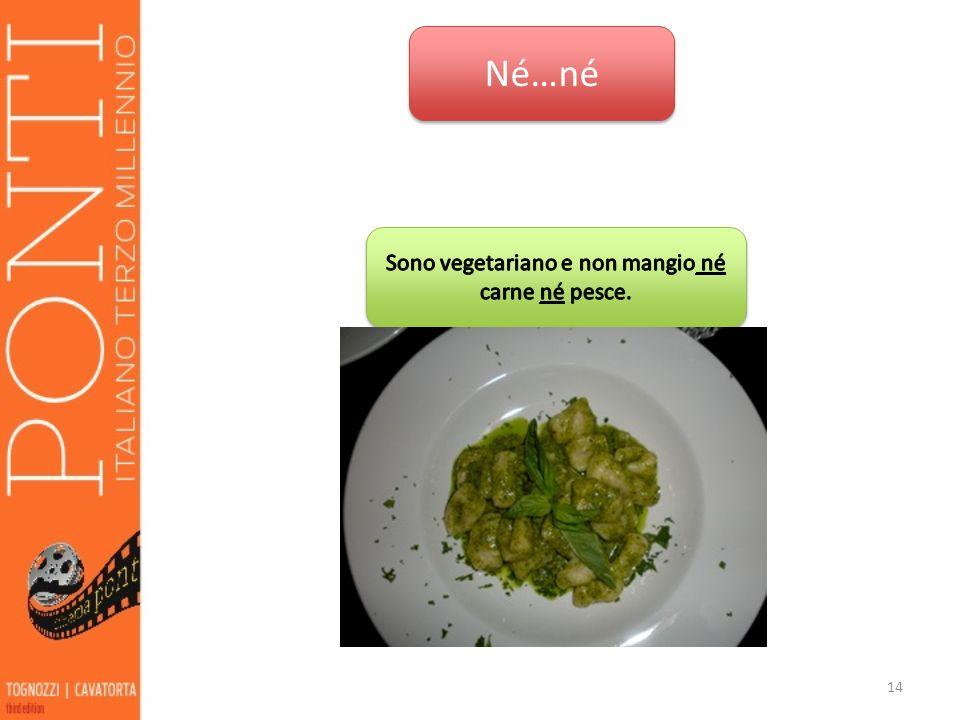 Sono vegetariano e non mangio né carne né pesce.