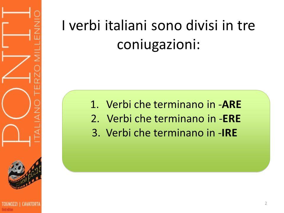 I verbi italiani sono divisi in tre coniugazioni: