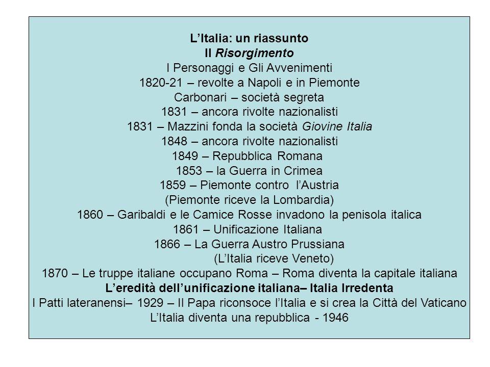 L'Italia: un riassunto
