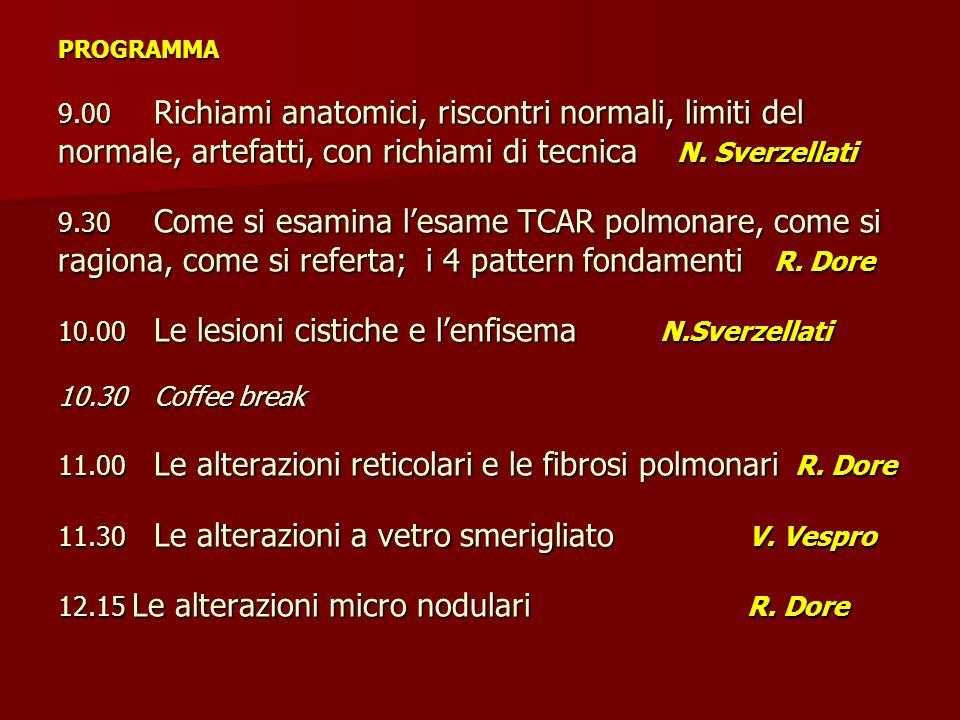 PROGRAMMA 9.00 Richiami anatomici, riscontri normali, limiti del normale, artefatti, con richiami di tecnica N.