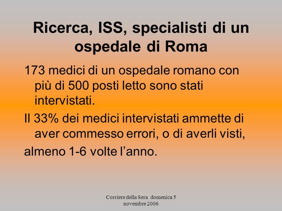 Ricerca, ISS, specialisti di un ospedale di Roma