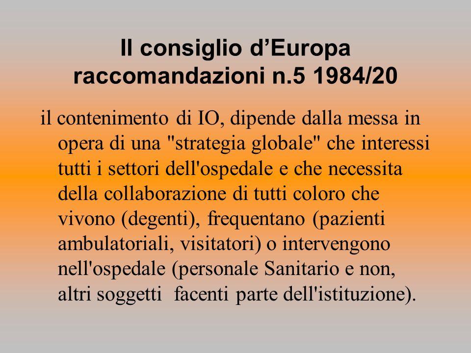 Il consiglio d'Europa raccomandazioni n.5 1984/20
