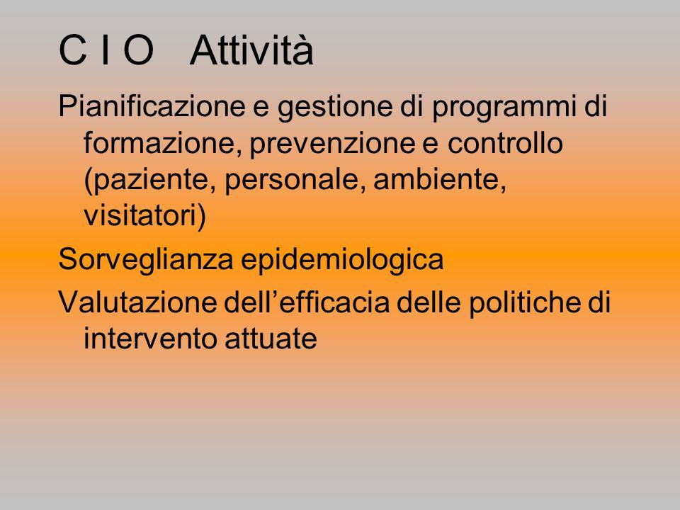 C I O Attività Pianificazione e gestione di programmi di formazione, prevenzione e controllo (paziente, personale, ambiente, visitatori)