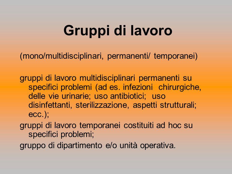 Gruppi di lavoro (mono/multidisciplinari, permanenti/ temporanei)