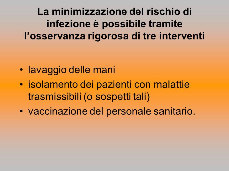 La minimizzazione del rischio di infezione è possibile tramite l'osservanza rigorosa di tre interventi