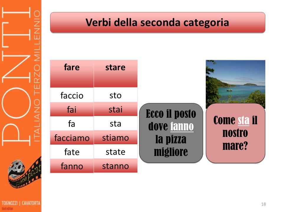 Verbi della seconda categoria