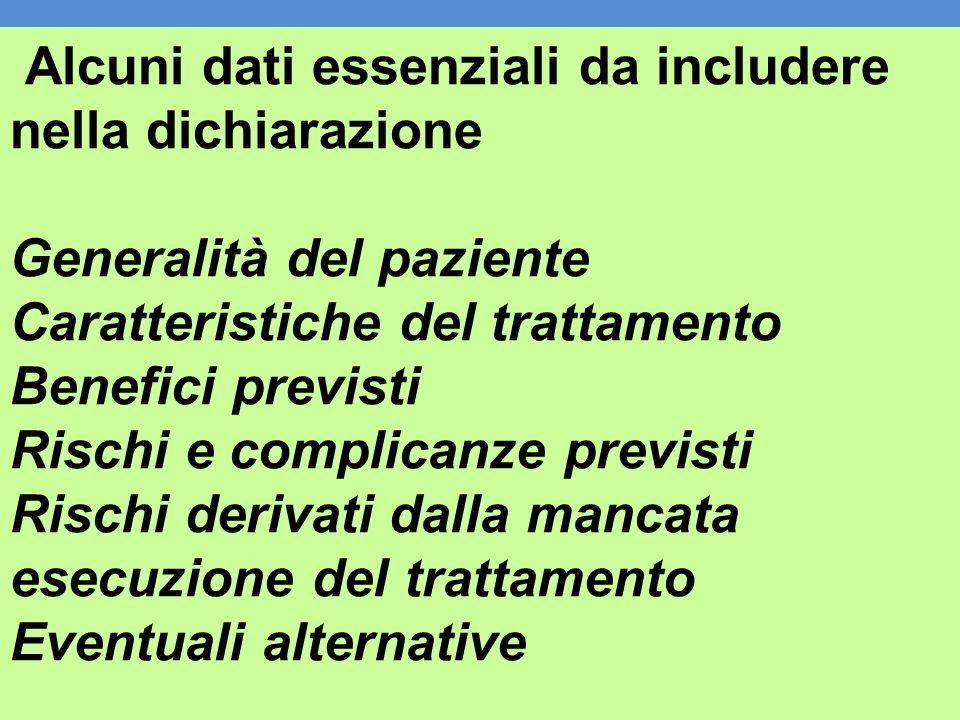 Alcuni dati essenziali da includere nella dichiarazione