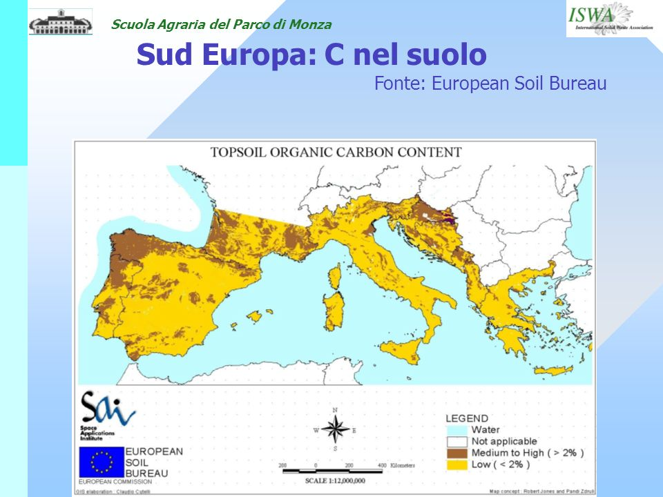 Sud Europa: C nel suolo Fonte: European Soil Bureau