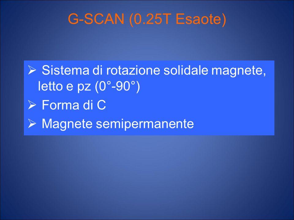 G-SCAN (0.25T Esaote) Sistema di rotazione solidale magnete, letto e pz (0°-90°) Forma di C. Magnete semipermanente.