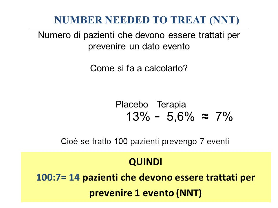 13% - 5,6% ≈ 7% NUMBER NEEDED TO TREAT (NNT) QUINDI
