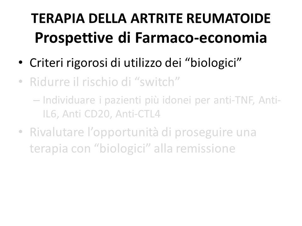 TERAPIA DELLA ARTRITE REUMATOIDE Prospettive di Farmaco-economia