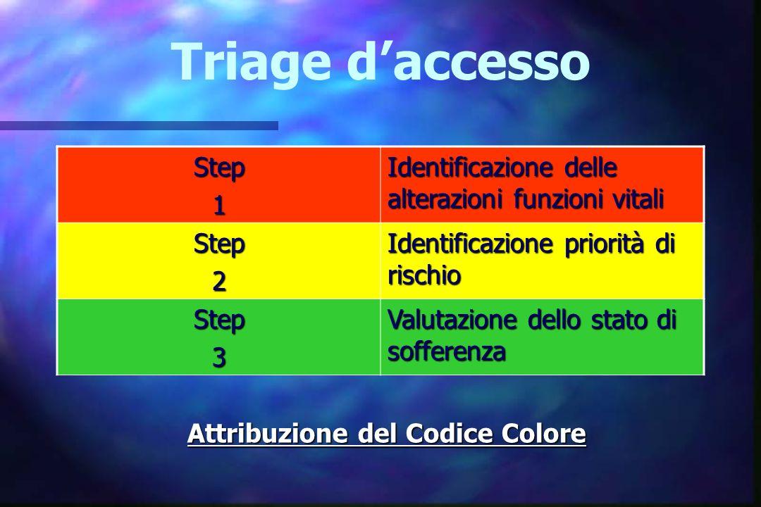 Triage d'accesso Step. 1. Identificazione delle alterazioni funzioni vitali. 2. Identificazione priorità di rischio.