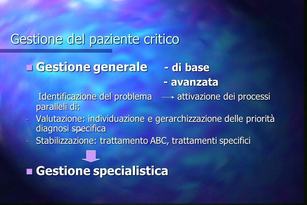 Gestione del paziente critico