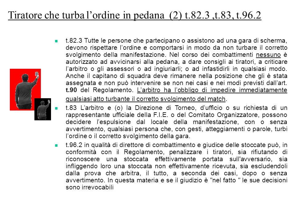 Tiratore che turba l'ordine in pedana (2) t.82.3 ,t.83, t.96.2