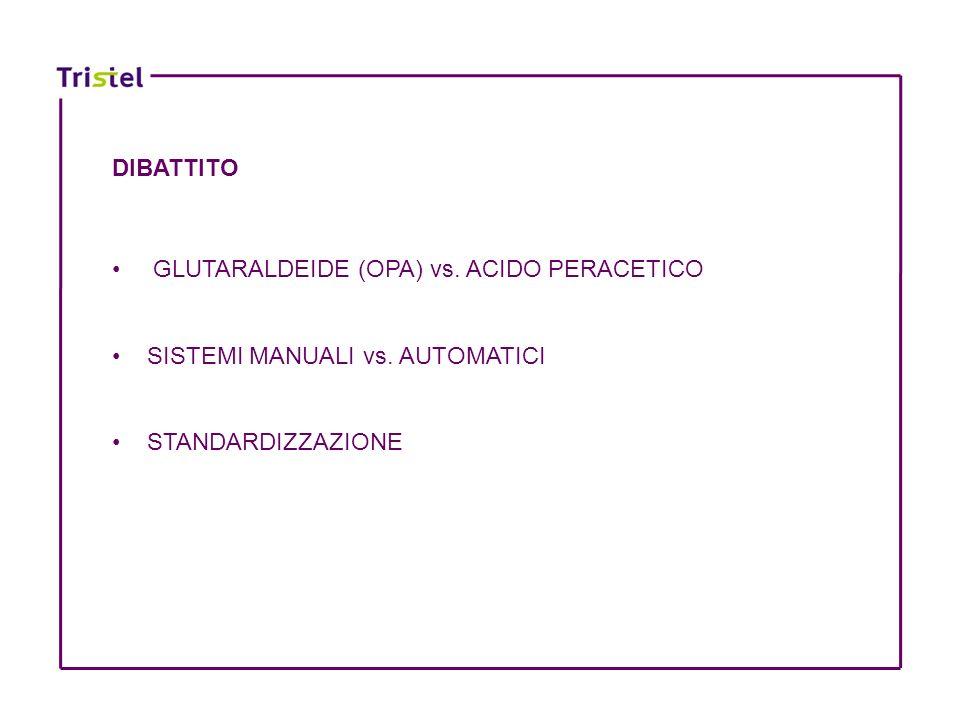 DIBATTITO GLUTARALDEIDE (OPA) vs. ACIDO PERACETICO SISTEMI MANUALI vs. AUTOMATICI STANDARDIZZAZIONE