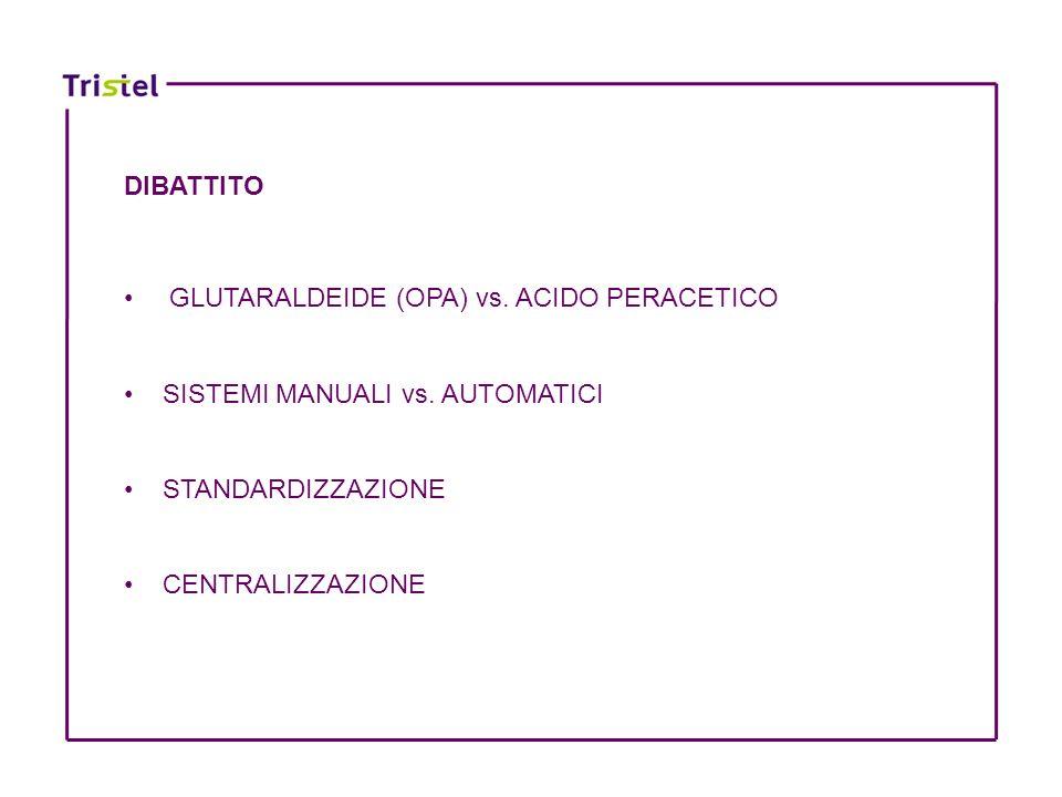 DIBATTITO GLUTARALDEIDE (OPA) vs. ACIDO PERACETICO. SISTEMI MANUALI vs. AUTOMATICI. STANDARDIZZAZIONE.