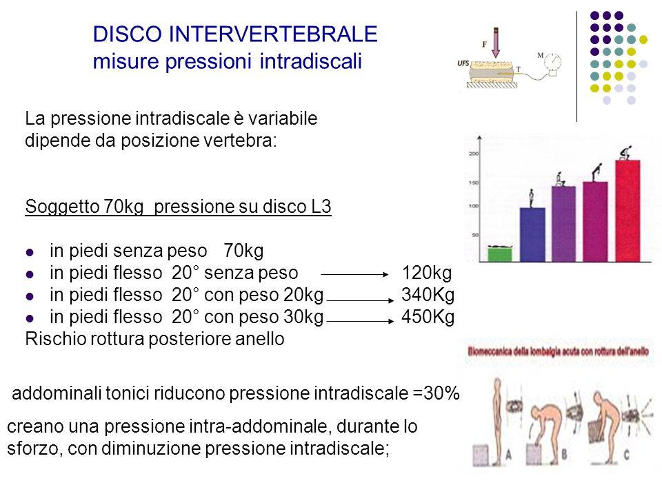 DISCO INTERVERTEBRALE misure pressioni intradiscali