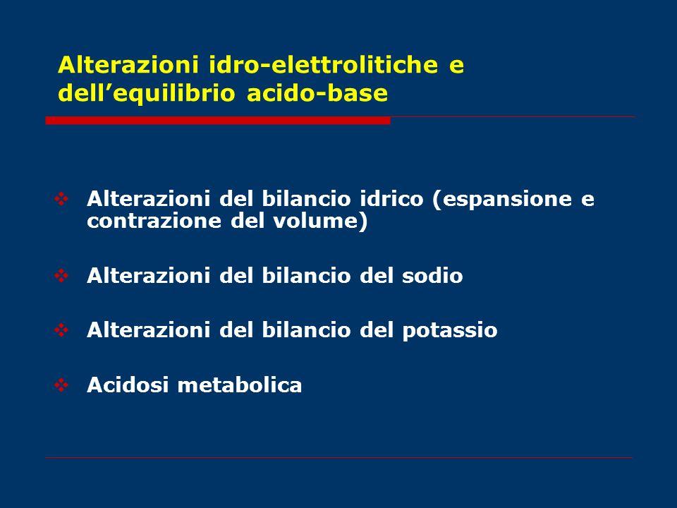 Alterazioni idro-elettrolitiche e dell'equilibrio acido-base