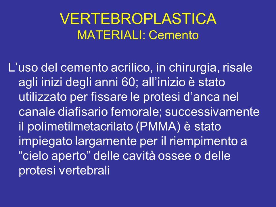 VERTEBROPLASTICA MATERIALI: Cemento