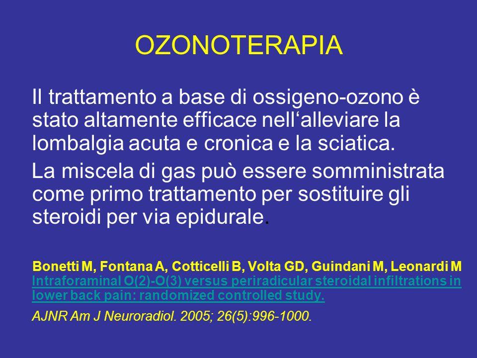 OZONOTERAPIA Il trattamento a base di ossigeno-ozono è stato altamente efficace nell'alleviare la lombalgia acuta e cronica e la sciatica.