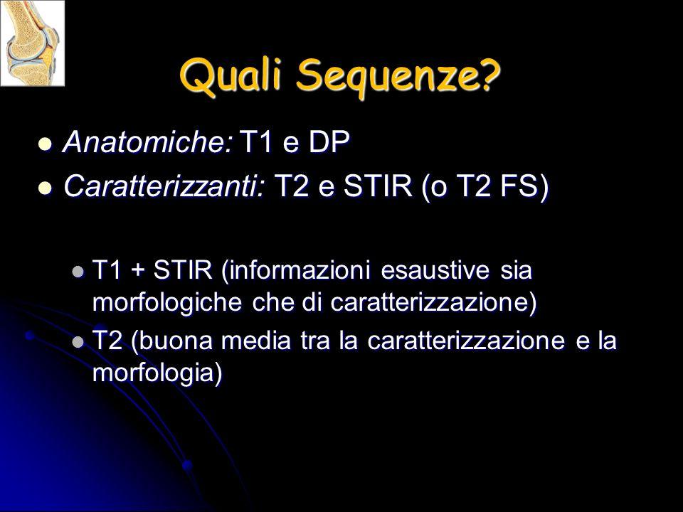 Quali Sequenze Anatomiche: T1 e DP