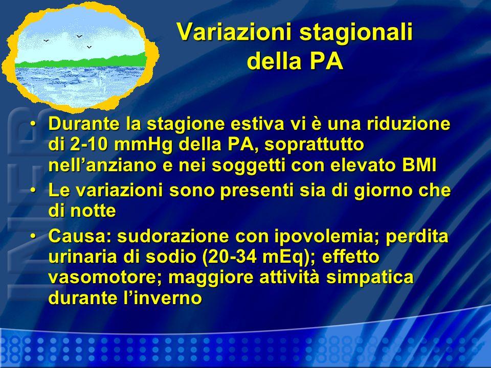 Variazioni stagionali della PA