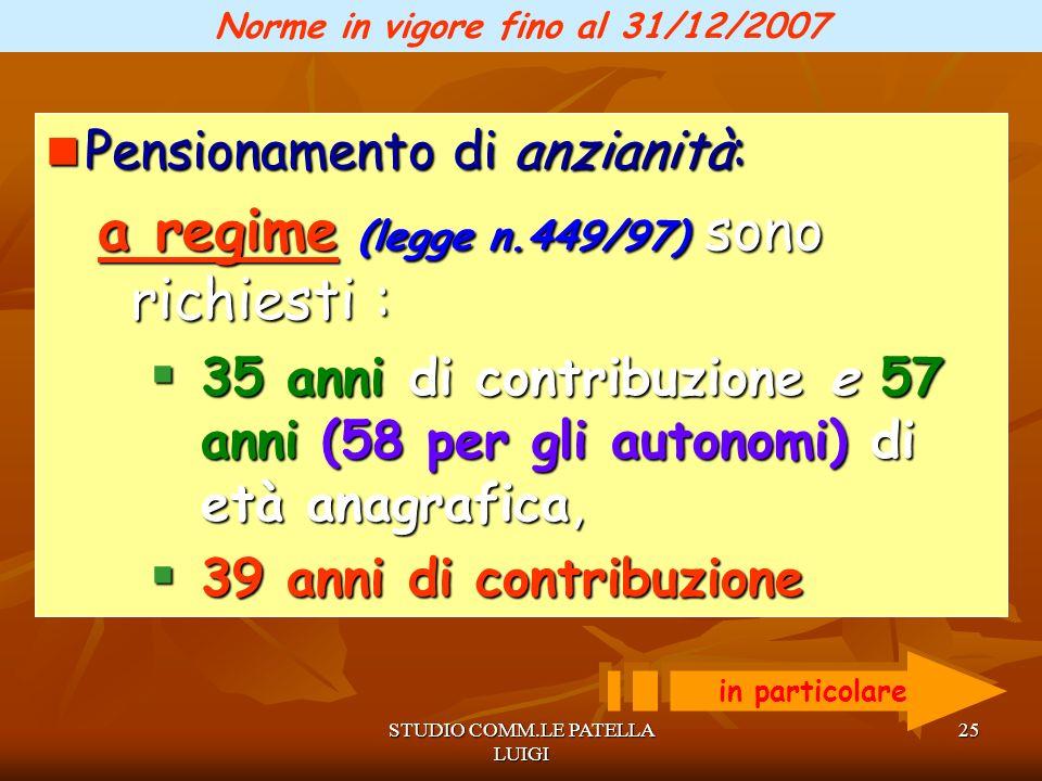 Norme in vigore fino al 31/12/2007