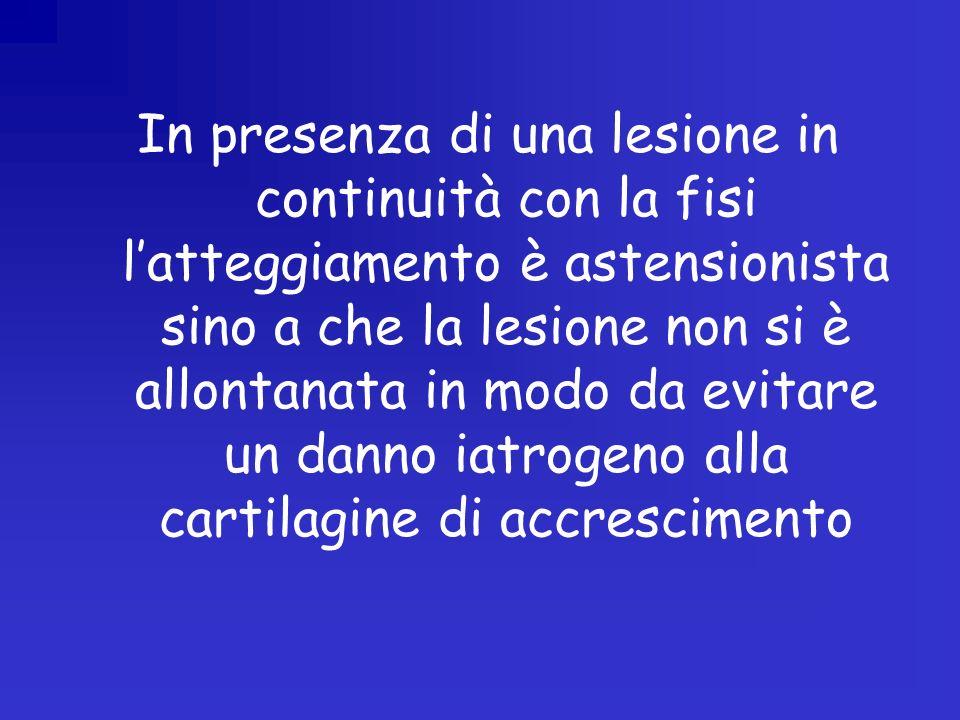 In presenza di una lesione in continuità con la fisi l'atteggiamento è astensionista sino a che la lesione non si è allontanata in modo da evitare un danno iatrogeno alla cartilagine di accrescimento