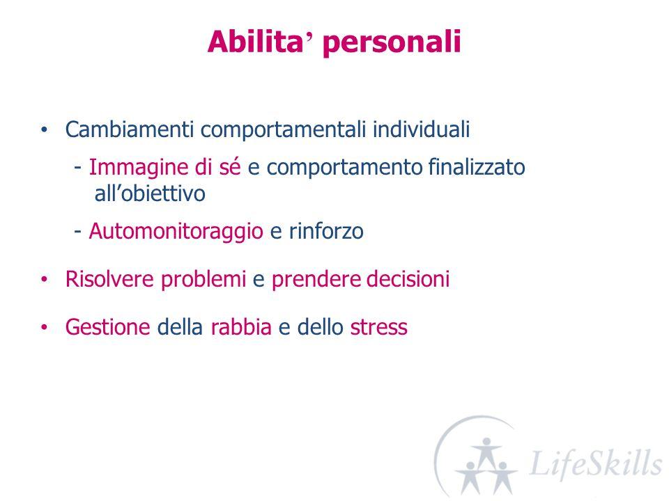 Abilita' personali Cambiamenti comportamentali individuali