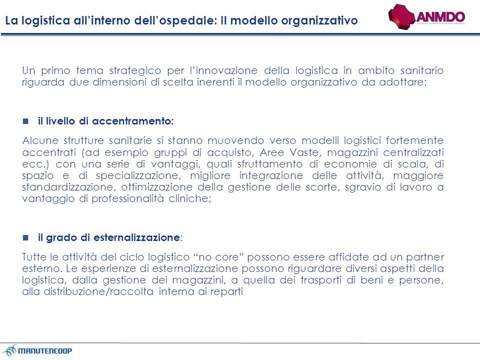 La logistica all'interno dell'ospedale: Il modello organizzativo
