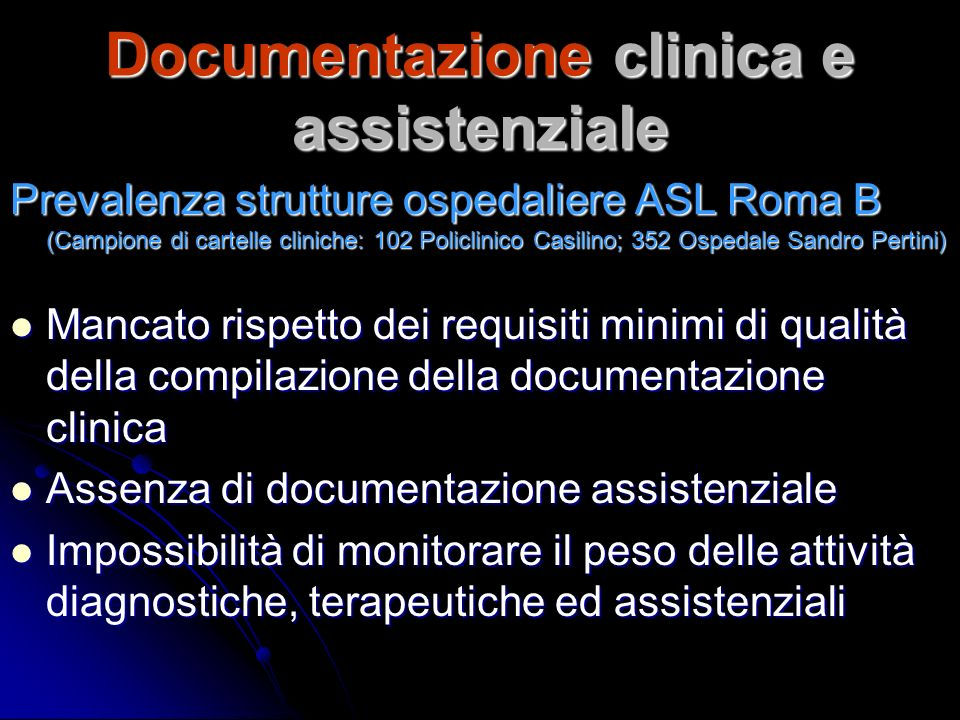 Documentazione clinica e assistenziale