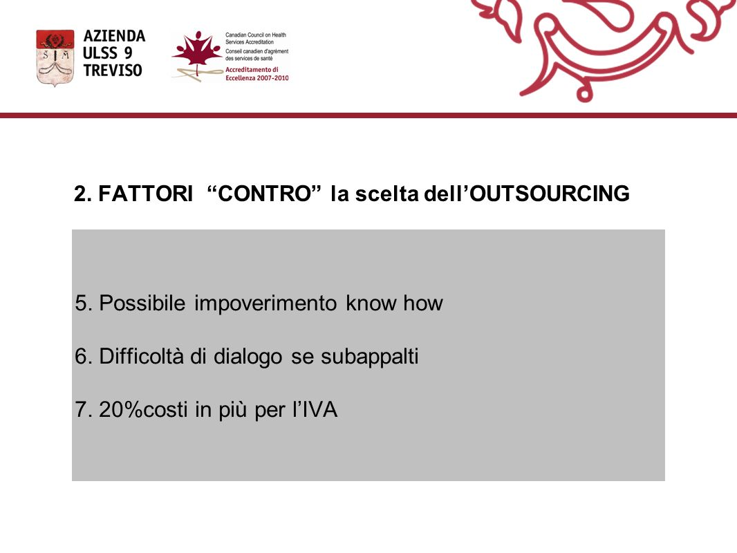 2. FATTORI CONTRO la scelta dell'OUTSOURCING