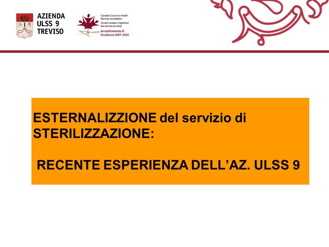 ESTERNALIZZIONE del servizio di STERILIZZAZIONE: RECENTE ESPERIENZA DELL'AZ. ULSS 9