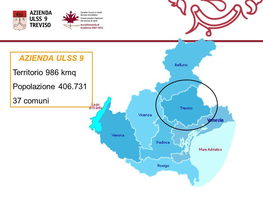 AZIENDA ULSS 9 Territorio 986 kmq Popolazione 406.731 37 comuni