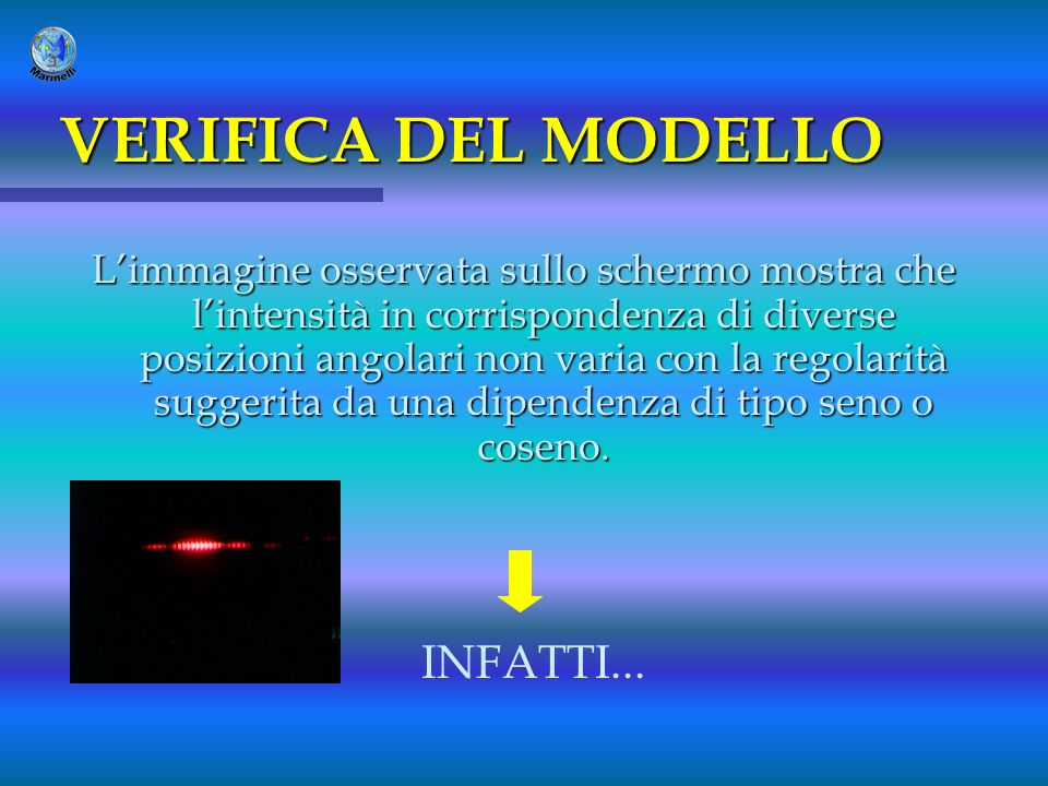 VERIFICA DEL MODELLO INFATTI...