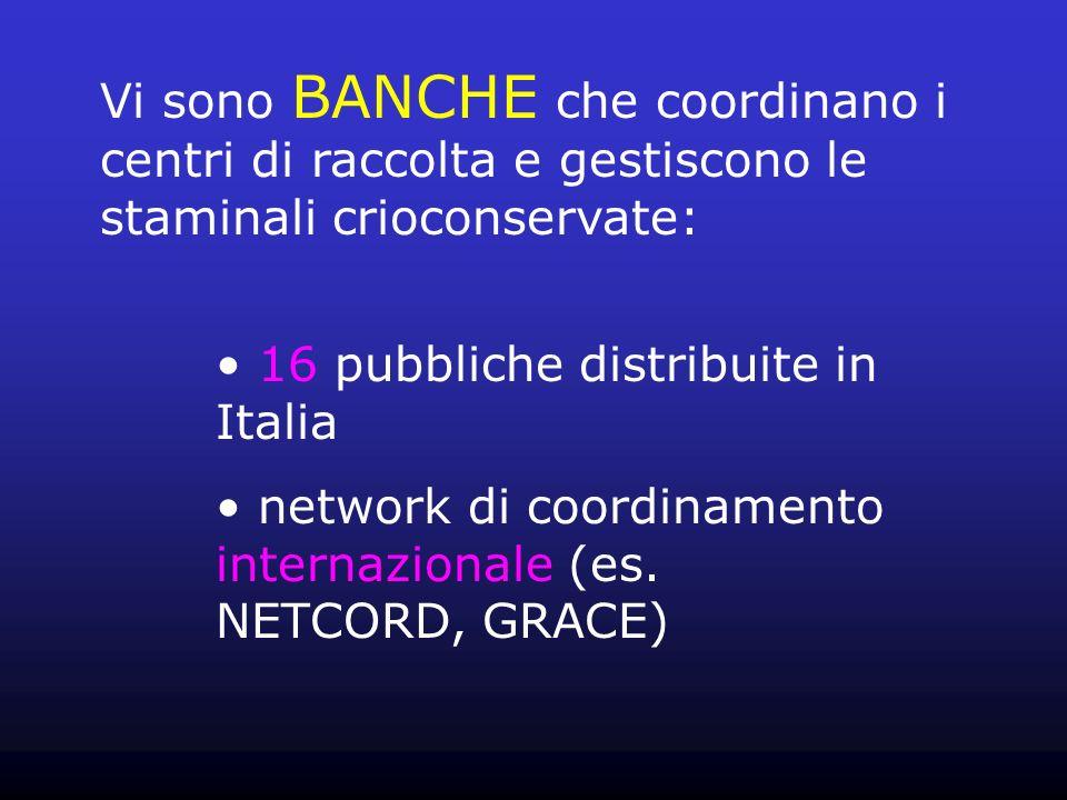 Vi sono BANCHE che coordinano i centri di raccolta e gestiscono le staminali crioconservate: