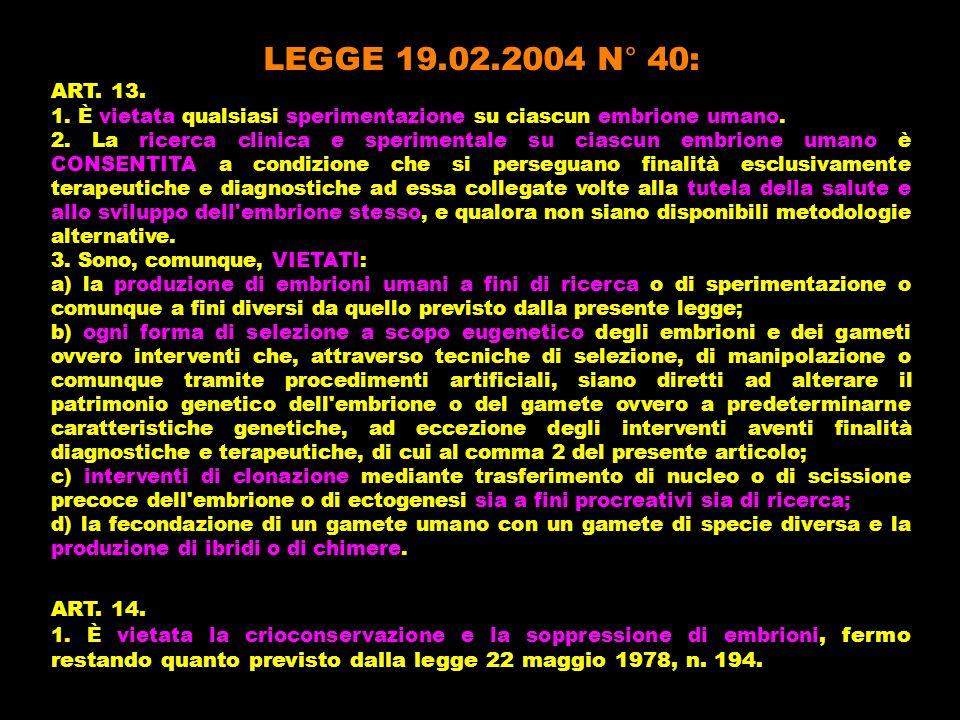 LEGGE 19.02.2004 N° 40:ART. 13. 1. È vietata qualsiasi sperimentazione su ciascun embrione umano.