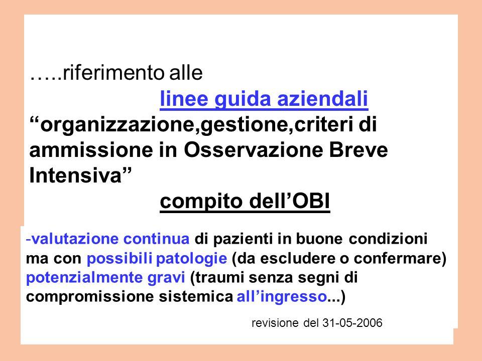 …..riferimento alle linee guida aziendali organizzazione,gestione,criteri di ammissione in Osservazione Breve Intensiva compito dell'OBI