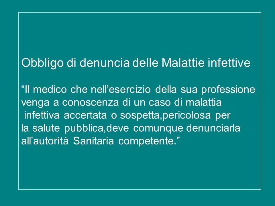 Obbligo di denuncia delle Malattie infettive