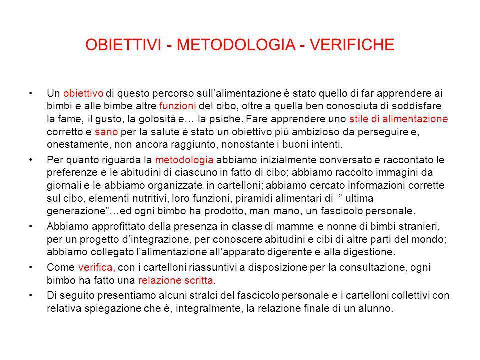 OBIETTIVI - METODOLOGIA - VERIFICHE