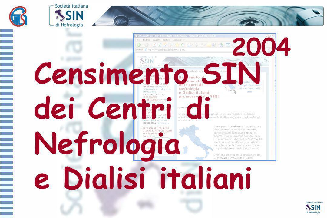 Censimento SIN dei Centri di Nefrologia e Dialisi italiani