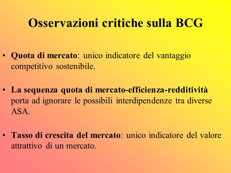 Osservazioni critiche sulla BCG