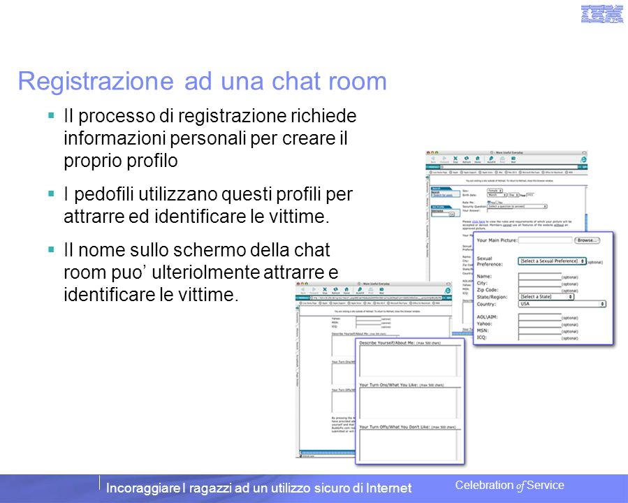 Registrazione ad una chat room
