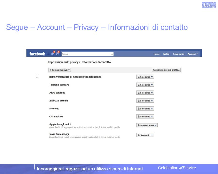 Segue – Account – Privacy – Informazioni di contatto